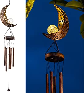 LeiDrail Solar Wind Chimes for Outside Hanging Outdoor Decor Moon Crackle Glass Ball Warm LED Light Sympathy Wind Chime Unique Memorial Gift with Metal Tubes Waterproof for Garden Yard Patio Lawn