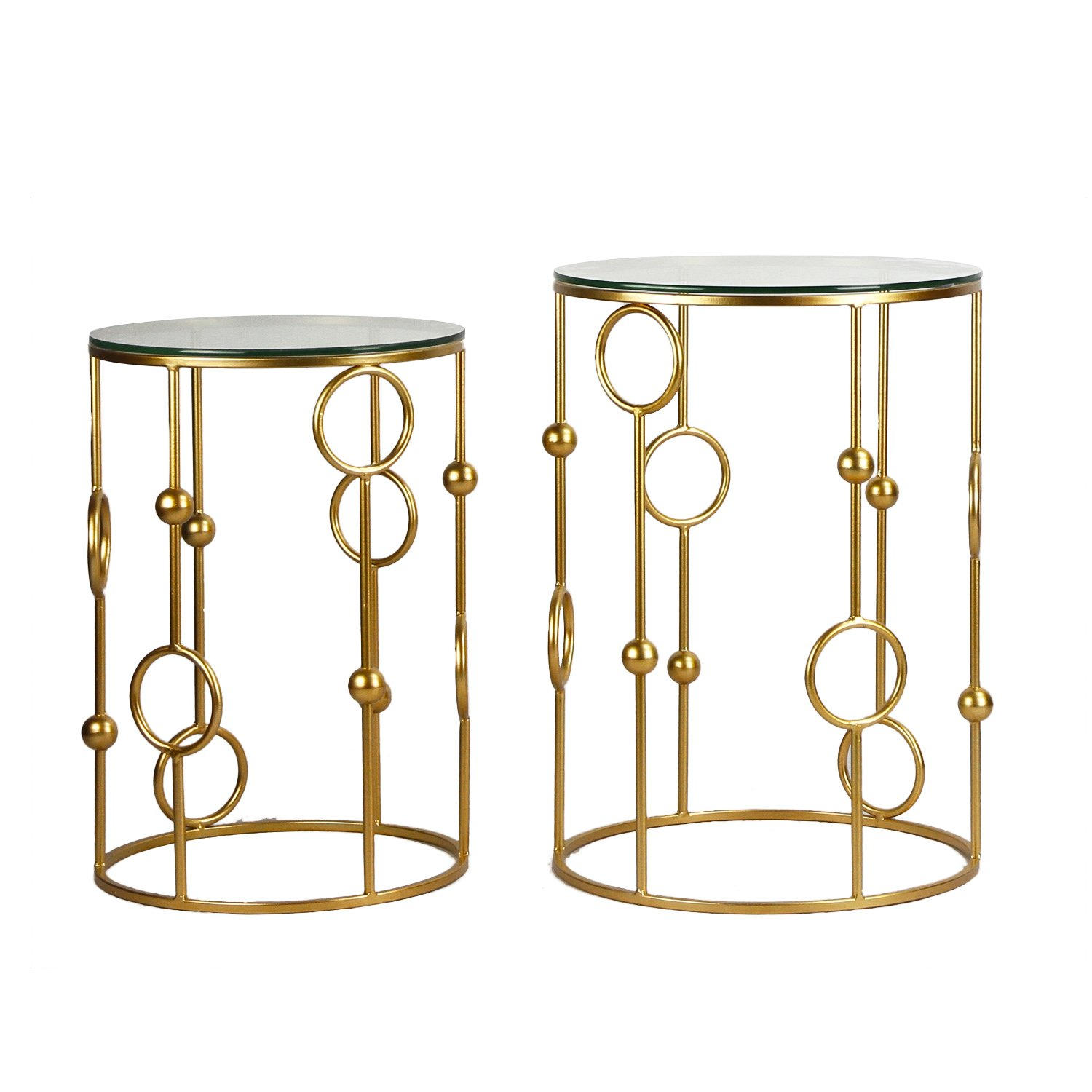 Adeco FT0063 Neting Accent, Decrorative Glass Top Side, End, Set of 2 Round Nesting Tables, Gold by Adeco