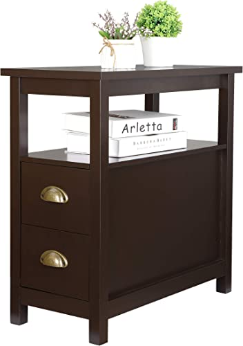 SUPER DEAL Upgraded Narrow Chairside End Table Living Room Bedroom Nightstand w/ 2 Drawers and Shelf