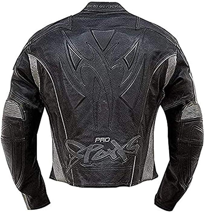 Men/'s Hein Gericke Eagle Riding Live Black Motorcycle Cafe Racer Leather Jacket
