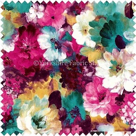 Flower Floral Pattern Pink Green Print Velvet Upholstery New Fabric