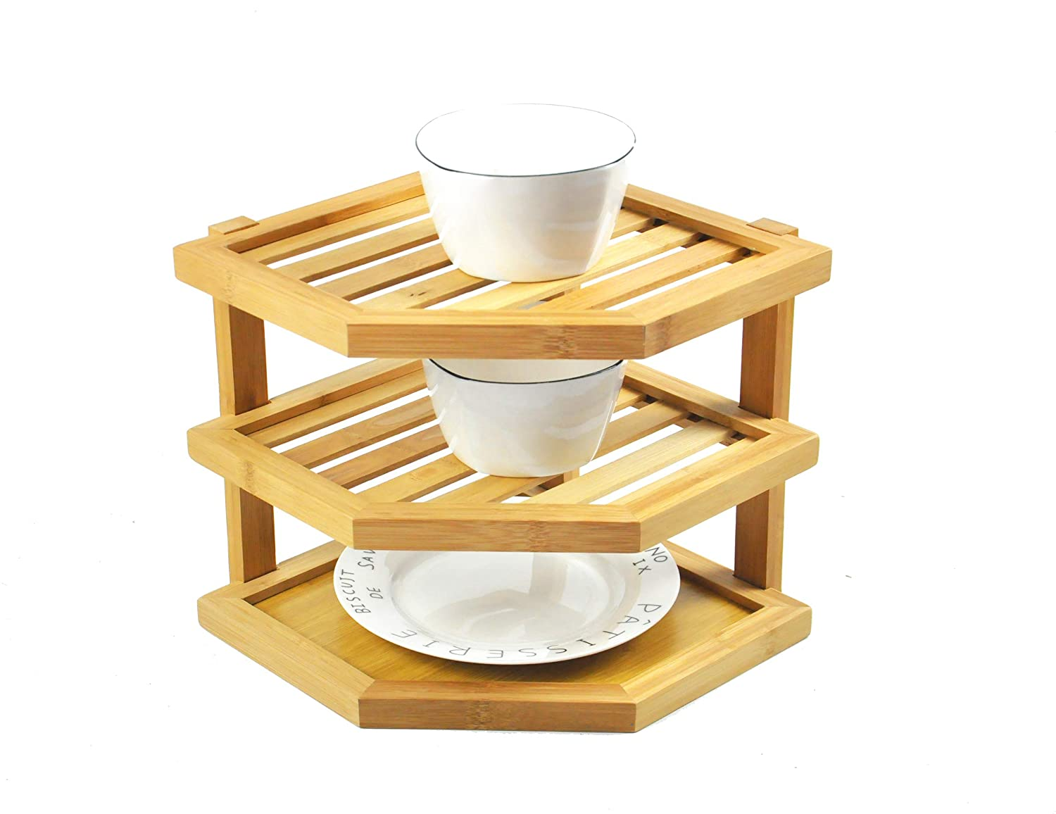 Knocbel Bamboo Corner Shelf, 3-Tier Freestanding Storage Natural Bamboo Rack (Natural Bamboo) HTOH