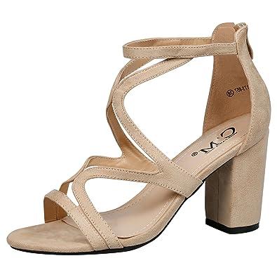 db38d4bd577e Feet First Fashion Lindsay Ladies Chunky Block Heel Cut Beige Faux Suede 3  UK 36