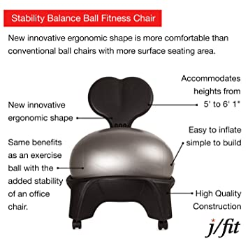 amazon com j fit ergonomic comfort stability balance ball fitness