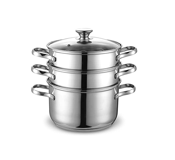 Cook N Home NC-00313 Double Boiler Steamer 4Qt silver