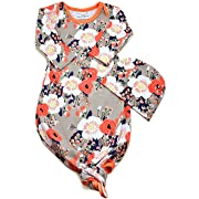 Infant Baby Girl Cotton Pajamas Floral Outfits Set Gown Swaddle Hats 2Pcs Cute Sleeping Bag for Newborn Sleepwear Blanket (Gray + Orange Flower Pattern, 0-3 Months)