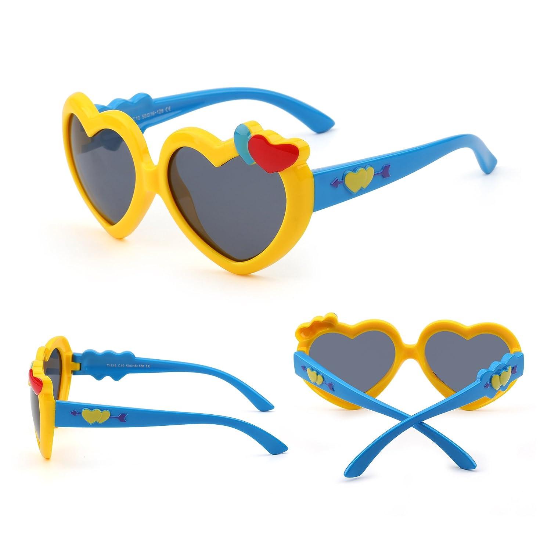 Niños Corazón Polarizadas Linda Gafas de Sol Flexible Goma Chicas Niñas Años 3-12(Amarillo/Azul/Gris): Amazon.es: Ropa y accesorios