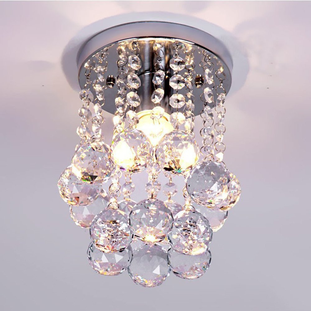 1-Light Mini Chic Crystal Chandeliers Flush Mount Crystal Chandelier Light Ceiling Lamp Light Rain Drop Pendant For Living Room, Hallway, Kitchen, Dining Room, Kids Room