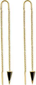 Dagger Threader Earrings for Women   14k Gold Dangle Earrings for Women   Dagger Drop Earrings for Women   Long Chain Earrings for Women   Nickel Free Hypoallergenic Thread Earrings, Triangle Earrings
