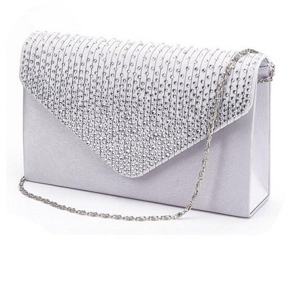 JESPER Ladies Large Evening Satin Diamante Ladies Clutch Bag Party Envelope Bag Silver