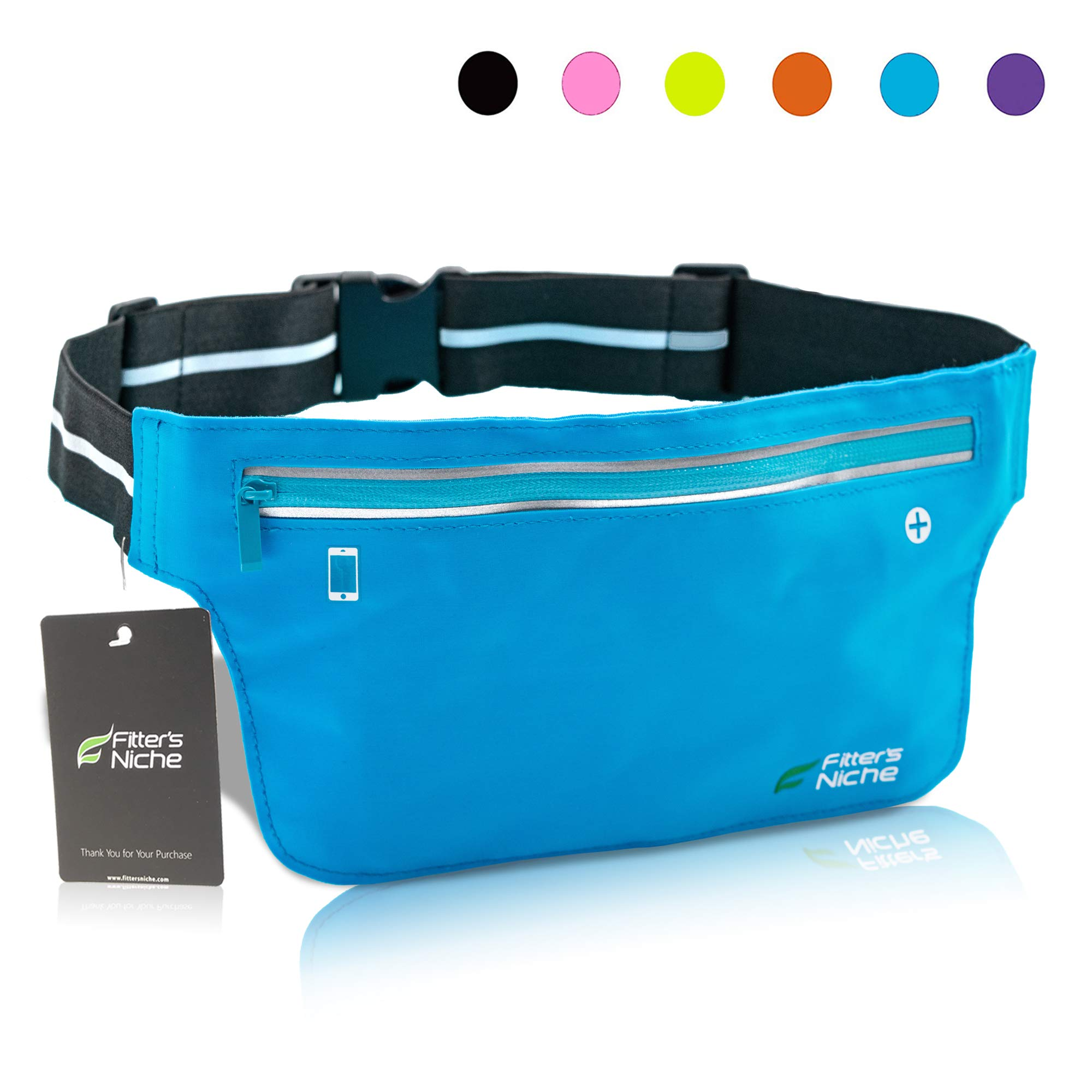 Ultra Slim Fanny Packs Running Belt, Water Resistant Lightweight Phone Holder Fitness Workout Exercise Waist Pouch Bag for iPhone X XS 8 Samsung Note in Biking Walking Hiking Gym Sports by fitter's niche
