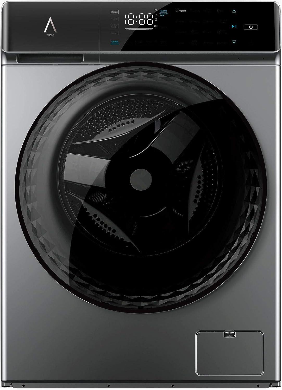 ALPHA Lavadora inteligente TITAN LUX IA, Programa de Lavado Inteligencia Artificial, Motor DD 10 años de Garantía,10 kg, 1400 rpm, A+++, Gris, Carga Frontal, Evita el desgaste de la ropa