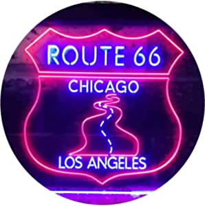 Route 66 Chicago to Los Angeles Garage Dual Color LED Neon Sign Red & Blue 400 x 300mm st6s43-i3434-rb