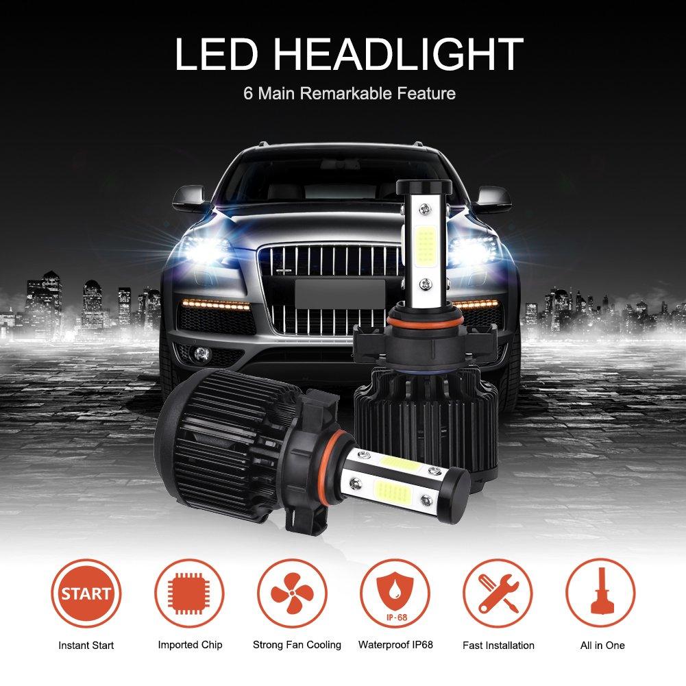 2 Pcs Catinbow LED Headlight Bulbs H7 Headlights Conversion Kit 4 Side COB ChipsAutomotive Headlamp Bulbs Cool White 6000K 80W 8000LM with Decoding Function