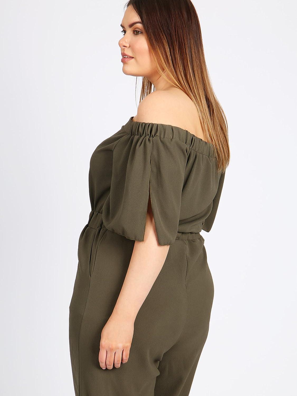 5ec234a6b910c Lovedrobe GB Women s Plus Size Khaki Bardot Culotte Jumpsuit (16)   Amazon.co.uk  Clothing