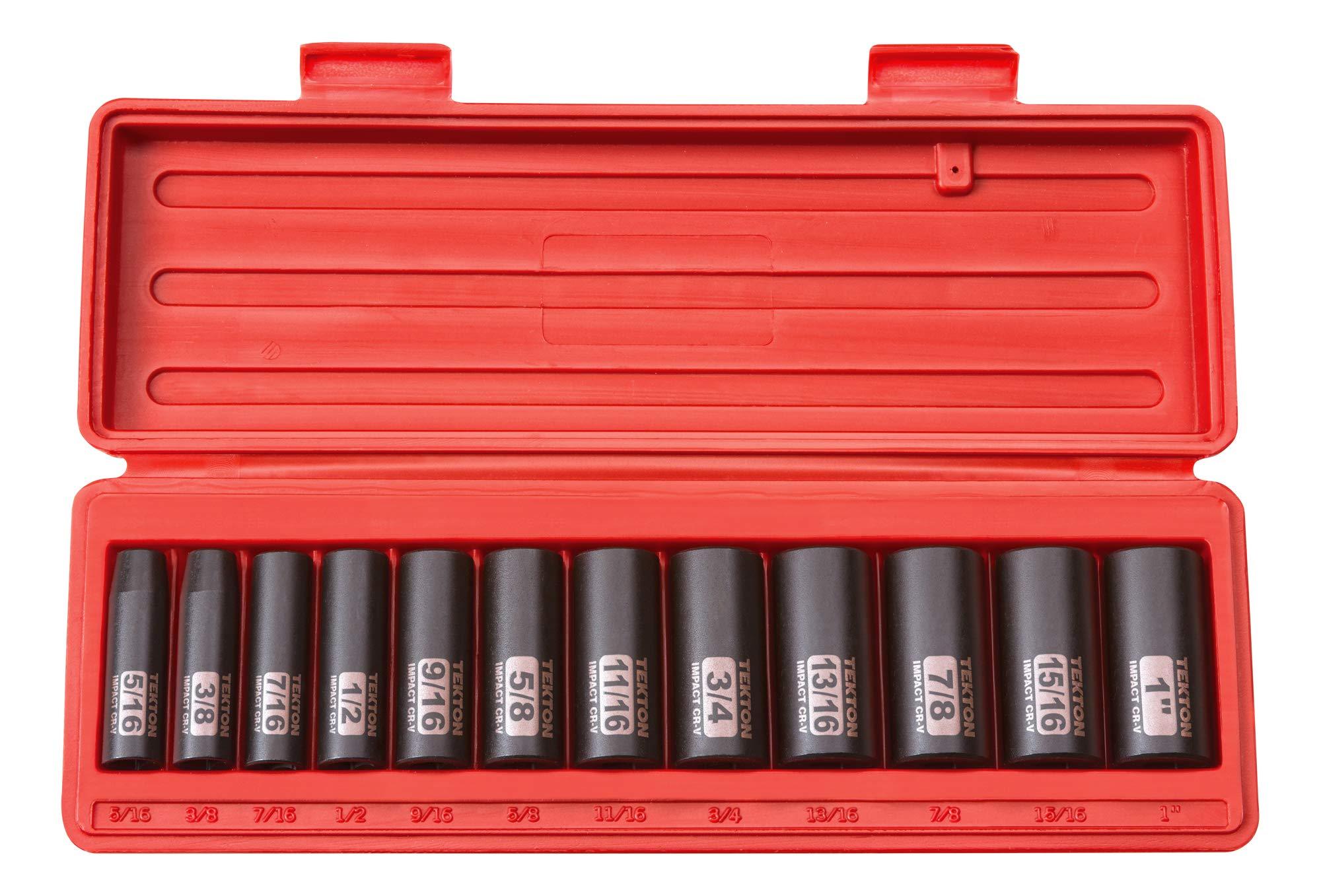 TEKTON 3/8 Inch Drive Deep 12-Point Impact Socket Set, 12-Piece (5/16-1 in.) | 47921