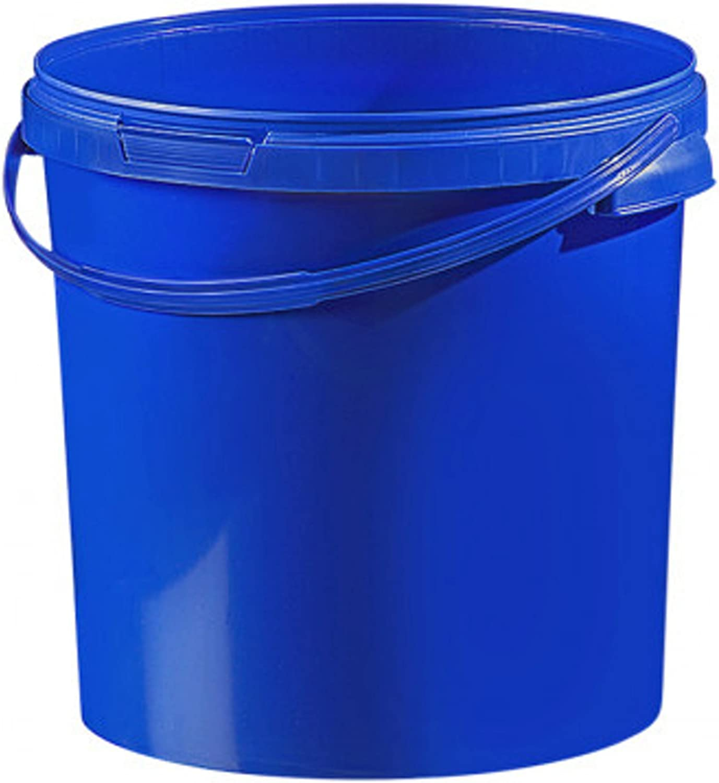 Cubo de plástico colores/cintura 21,1L con tapa (1pieza), plástico, azul, 20 Litros