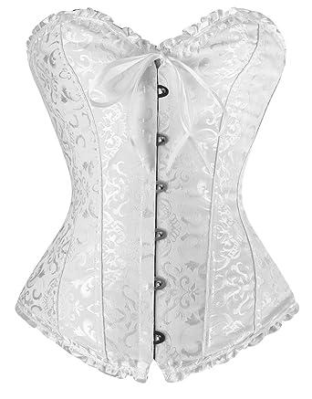 d88b9f00711 Charmian Women s Burlesque Brocade Wedding Bridal Dance Bustier Corset  Lingerie White Small