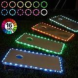 Frienda Cornhole Lights, 16 Colors Change Cornhole Board Edge Night Lights LED with Remote Control for Family Backyard Bean Bag Toss Cornhole Game, 2 Set