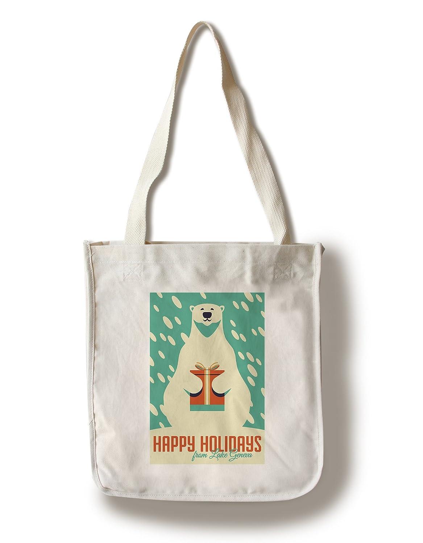 贈り物 ジュネーブ湖、ウィスコンシン – Happy Holidays – – ギフト Bear – Polar Happy Bear – レトロクリスマス Canvas Tote Bag LANT-83523-TT B076PPLSSM Canvas Tote Bag, オオシマムラ:119eb95e --- 4x4.lt
