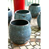 Hand Thrown Pottery Stemless Wine Glass in Slate Blue