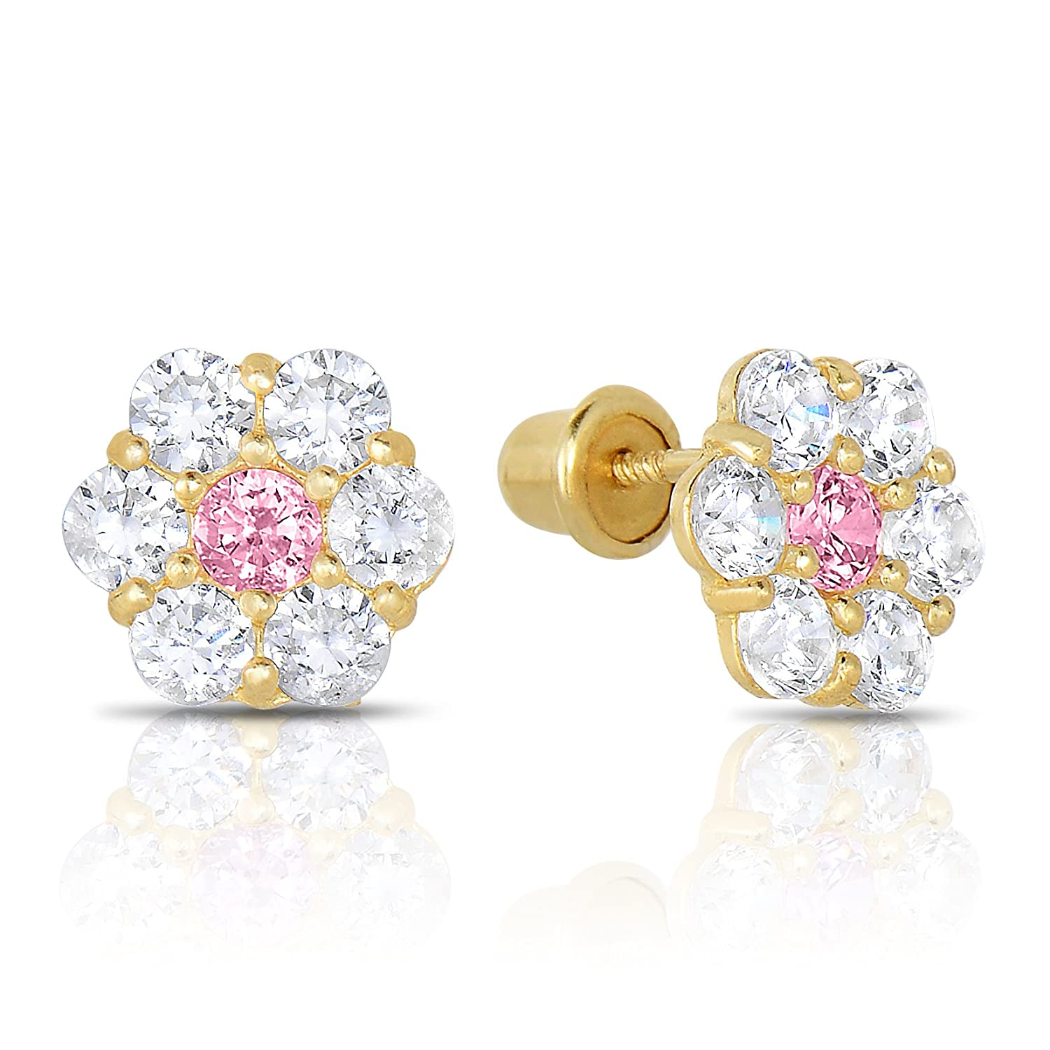 14k Yellow Gold Flower Stud Halo Earrings in Cubic Zirconia with Secure Safety Screw-backs Manufactured for Art and Molly 19-10-N