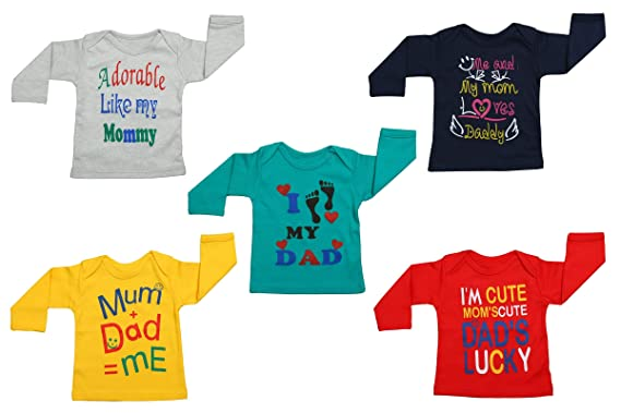0e7db3809 Fareto® Baby Mom & Dad Quotes Combo of 5 Full Sleeves White Printed T-