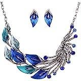 Yazilind estilo étnico tibetano de plata azul cristalino del pavo real fornido babero Pendientes Collar Set