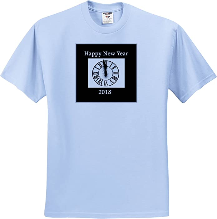 e3f6b345cc93 Amazon.com: New Year Designs - Image Of Classic Black and White With  Midnight Clock 2018 - T-Shirts - Youth Light-Blue-T-Shirt XS(2-4)  (TS_266390_59): ...