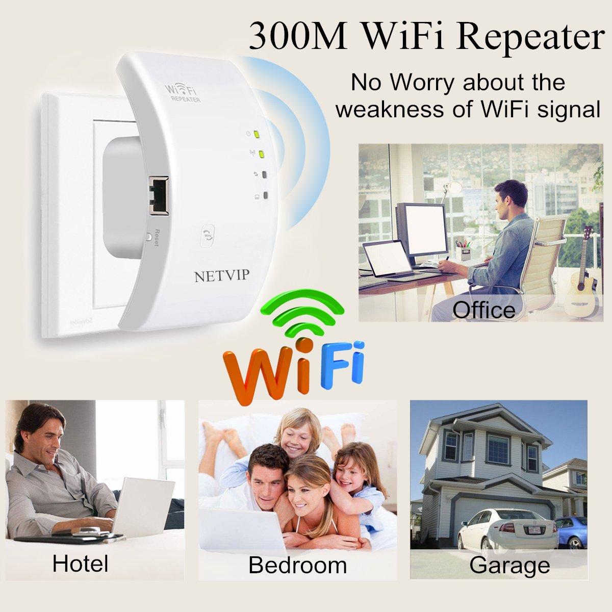 NETVIP WiFi repetidor Extensor de Red WiFi -300Mbps Mini Wireless Extensor de Rango Inalámbrico Ap Amplificador Enrutador Repetidor Booster Wireless-N ...