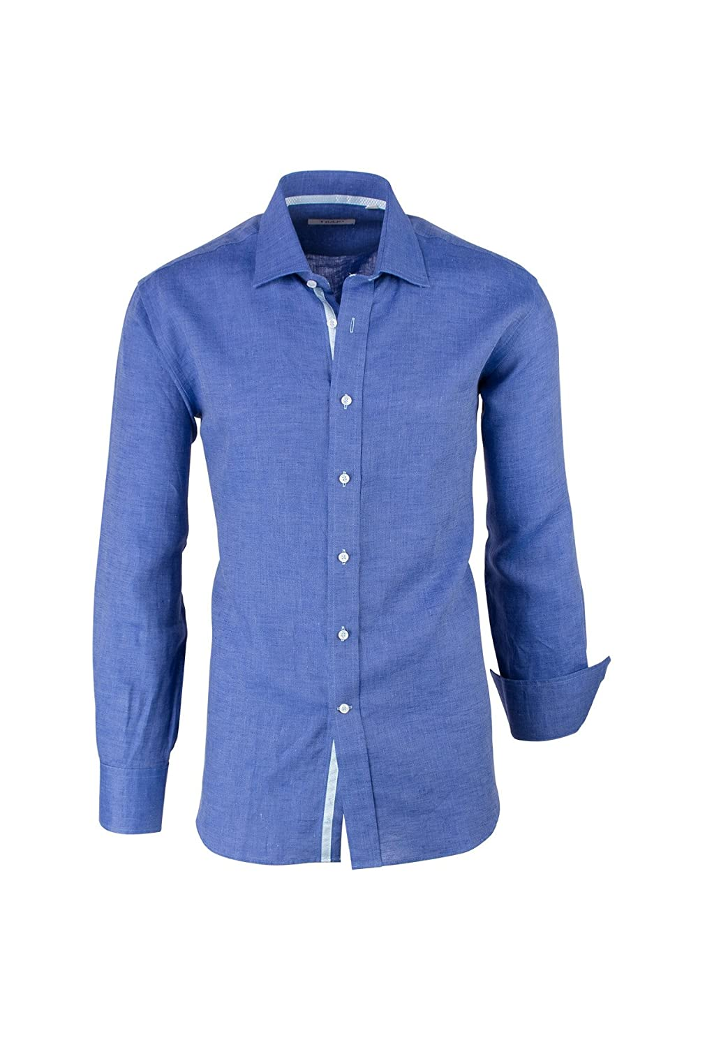 Modern Fit Solid Blue Linen Tiglio Sport Shirt