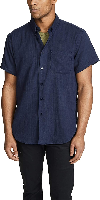 Navy Naked /& Famous Mens Double Weave Gauze Easy Shirt Medium Blue