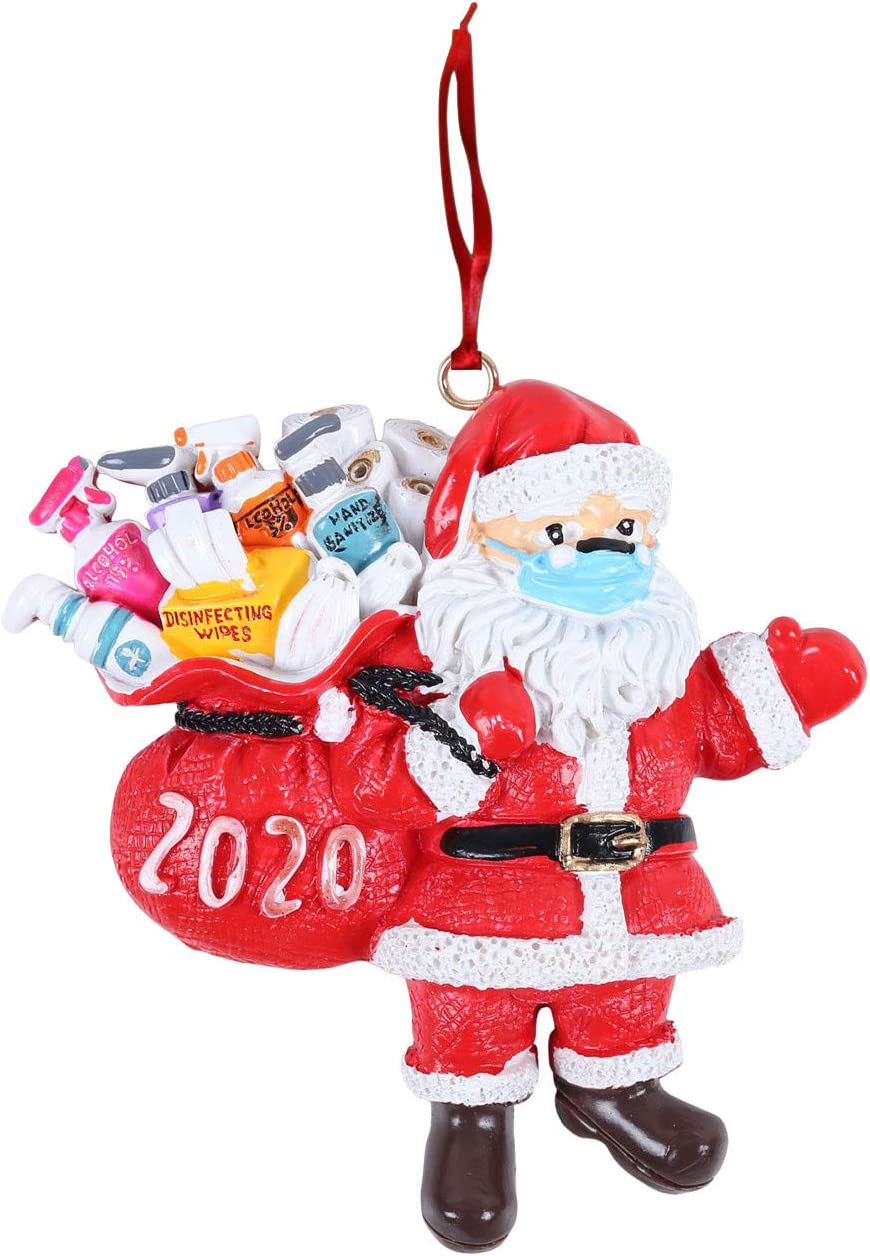 2020 Christmas Ornament 2020 Quarantine_Santa Face Ornaments Santa Christmas Ornament with Face Bandana Christmas Tree Decoration Pendant Keepsake Unique Luxury Ornament for Family (1PCS): Kitchen & Dining