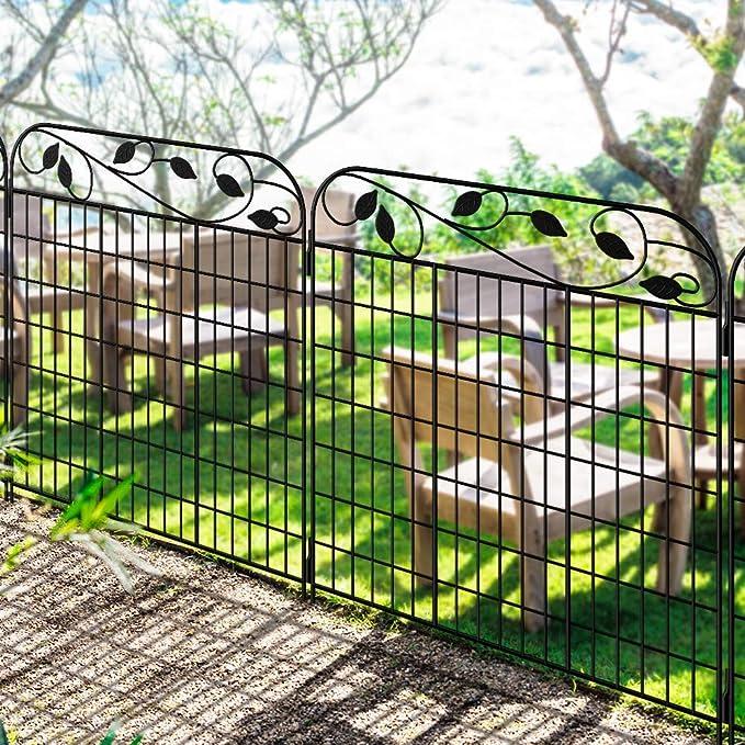 Amagabeli Garden Home Val1.12M X 0.9M Jardín de Hierro - Set de 2 - Valla Decorativa Hierro para Jardín Metalicas Negro: Amazon.es: Jardín