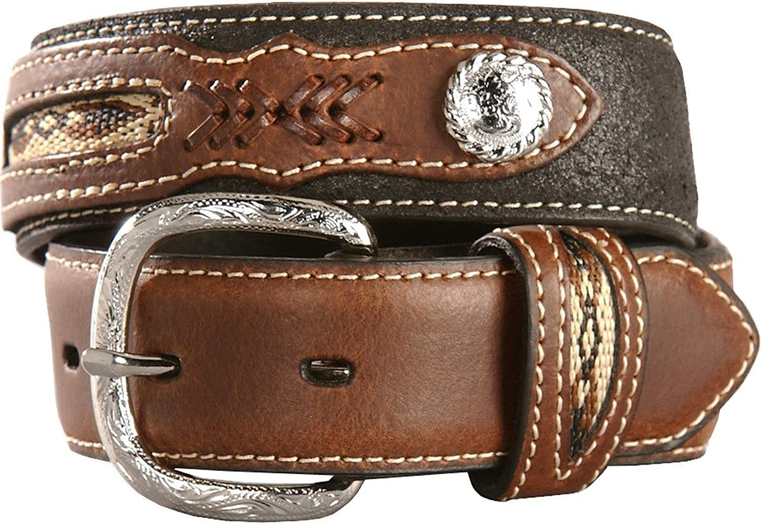 Nocona Boys Black with Brown Overlay Conchos Belt Size 20