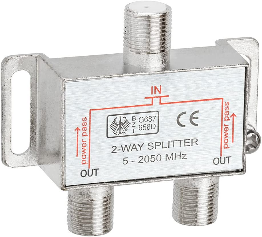 Cmple 2-Way Splitter 2050MHz F-Type 2.05Ghz 2 Way Coaxial Cable Splitter (RG6 Splitter, Coaxial Splitter, TV Splitter,