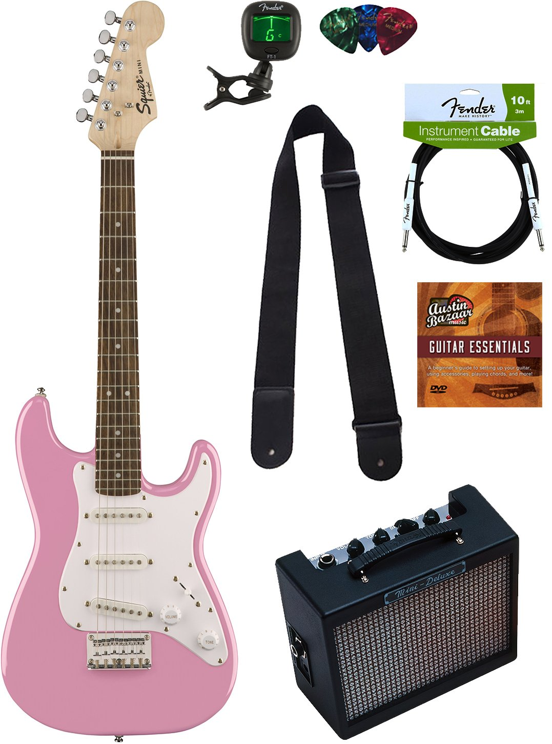 Squier by Fender Mini Strat Electric Guitar - Pink Bundle with Amplifier, Instrument Cable, Tuner, Strap, Picks, Austin Bazaar Instructional DVD, and Polishing Cloth by Squier