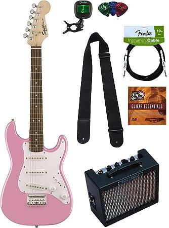 Squier por Fender Strat Guitarra eléctrica (- Rosa) con ...