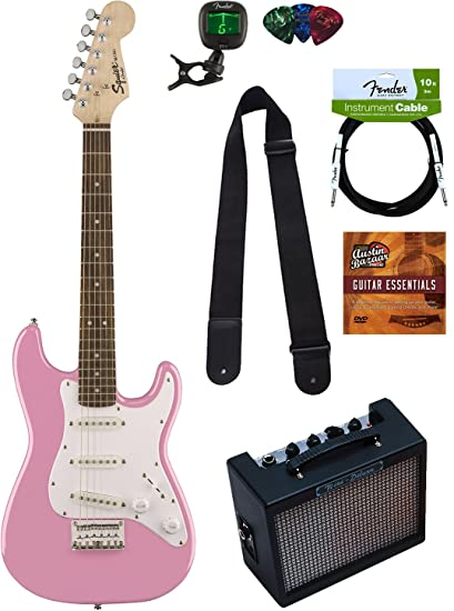 8b3cbeeba2 Squier by Fender Mini Strat Electric Guitar - Pink Bundle with Amplifier,  Instrument Cable,