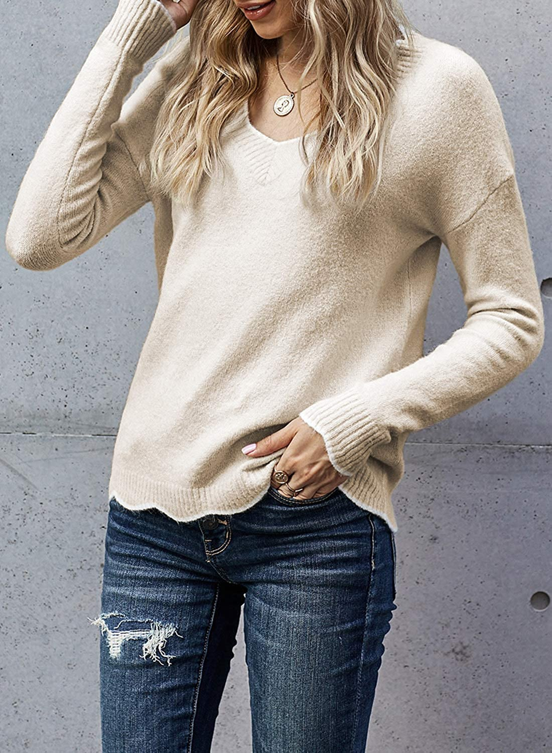 Elapsy Womens Casual Wavy V Neck Knit Sweaters Long Sleeve Casual Pullover Tops