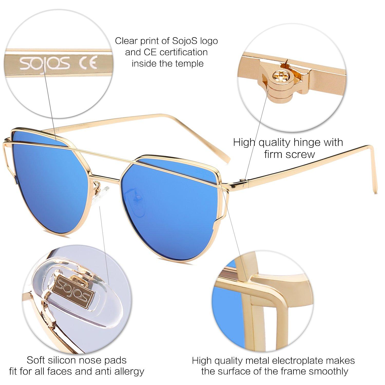 SOJOS Mode Twin-Beams Metallique Lunette de Soleil Femme /Œil de Chat Miroit/é Verres Plats Lentille Street Fashion Cateye Women Sunglasses SJ1001