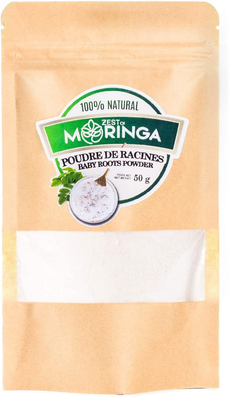 Moringa Oleifera Young Roots Powder - 100% Organic Moringa Root Powder - Powerful Food Supplement with Natural Nutrients - Natural Source of Magnesium