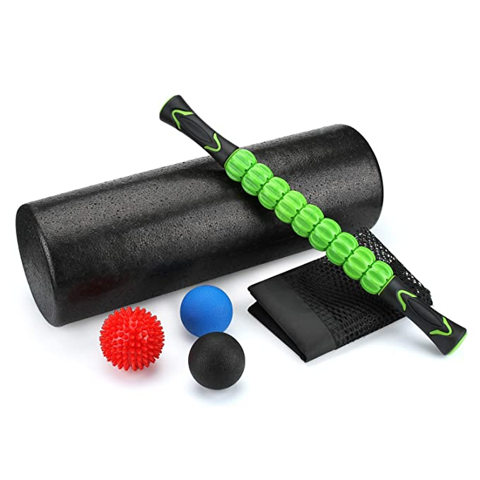 "Odoland 6-in-1 18"" Large Size Foam Roller Kit with Muscle Roller Stick and 3 Massage Balls, High Density for Physical Therapy, Deep Tissue Trigger, Pain Relief, Myofascial Release, Balance Exercise best foam roller"