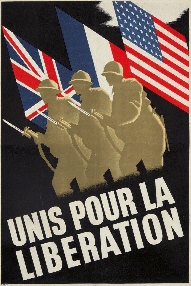 Unis Pour La Liberationヴィンテージポスター(アーティスト:匿名)フランスC。1945 9 x 12 Art Print LANT-73838-9x12 B01DQ0O0QA  9 x 12 Art Print