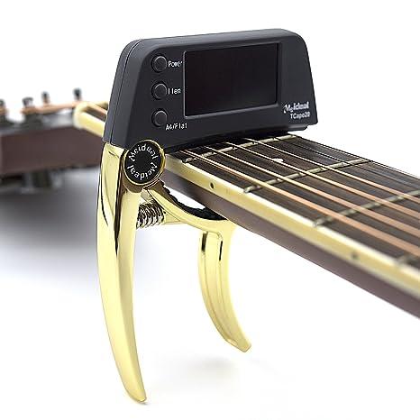 Profesional Guitarra Cejilla Sintonizador, loftstyle clip-on afinador cromático con rotación doble color protector