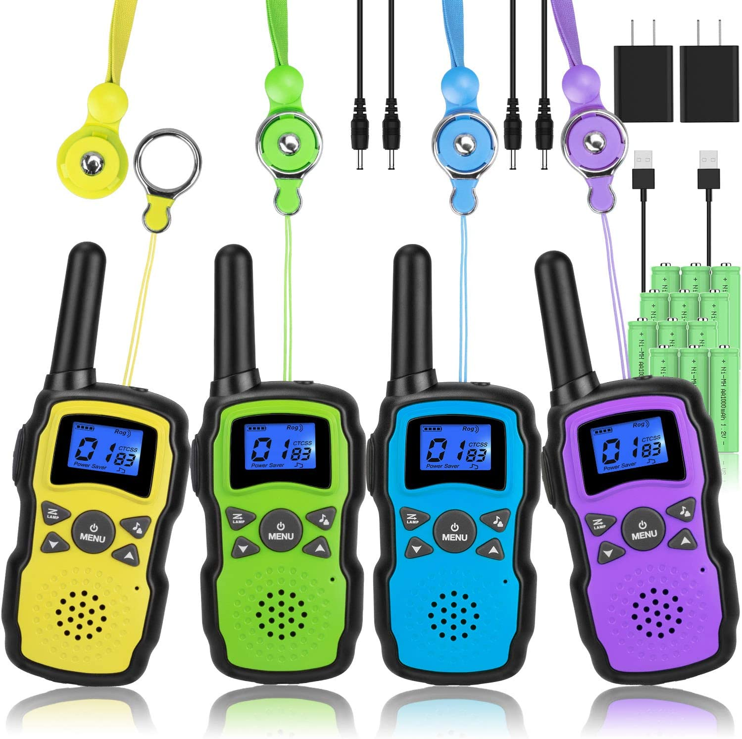 Wishouse Walkie Talkies for Kids Adults Rechargeable Long Range 4 Pack with 2 USB Chargers,Family Walky Talky Two Way Radio,Outdoor Camping Games Indoor Toys Birthday Xmas Gift for Boys Girls Children