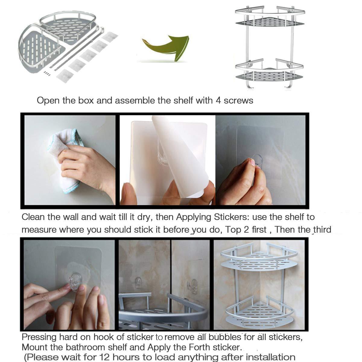 Lancher Bathroom Shelf (No Drilling) Durable Aluminum 2 Tiers Shower Shelf Kitchen Storage Basket Adhesive Suction Corner Shelves Shower Caddy 61Y8e0ECgSL