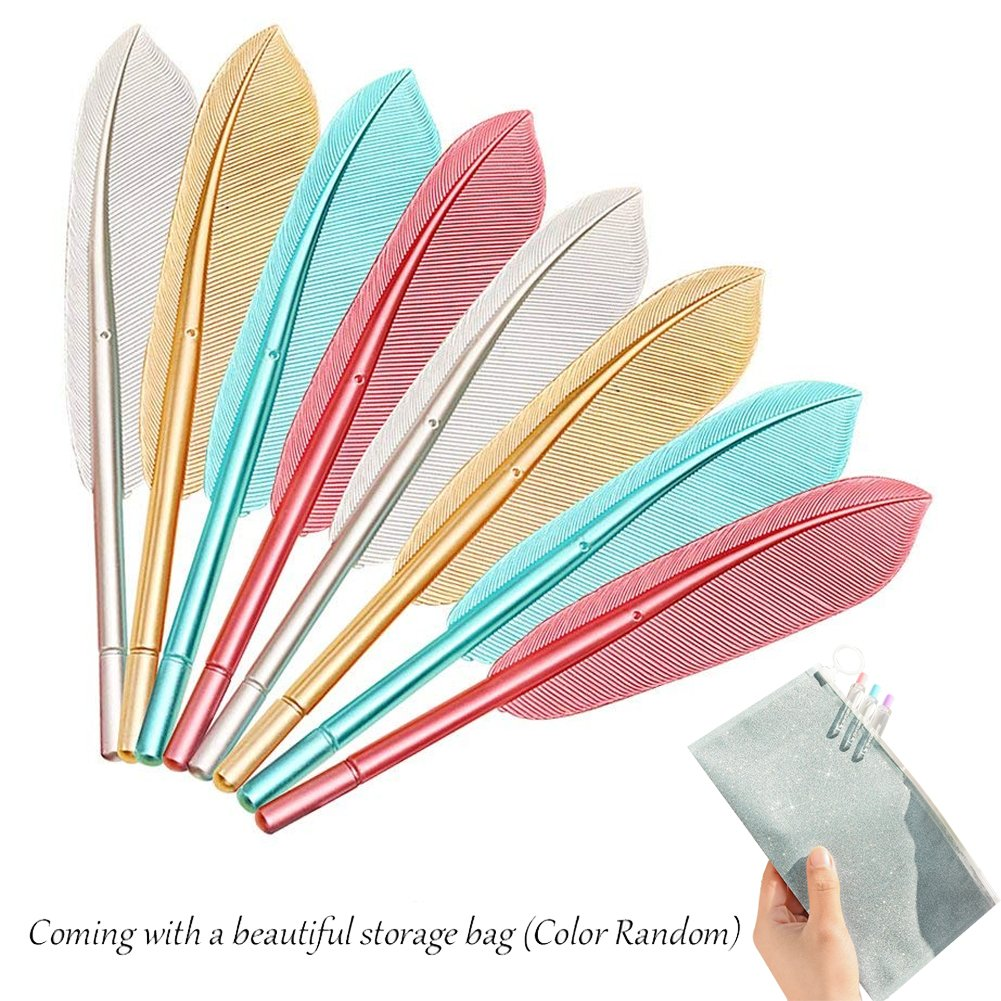 Evneed 8PCS piuma penna a sfera cute Wing Feather inchiostro per ragazze donne ufficio, scuola, inchiostro nero, punta fine 0.5mm (+ una borsa da trasporto libero)