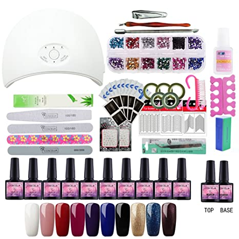 Saint-Acior 10pcs Esmaltes Semipermanentes Kit Uñas de Gel Gel Uñas Soak off 8ml 36W