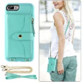 iPhone 7 Plus Case Wallet, LAMEEKU Compatible Wallet Case for iPhone 8 Plus 7 Plus, Card Slot Leather Case with Wrist Strap Chain Crossbody Strap Zipper Case for iPhone 7 Plus/8 Plus-5.5''(Green)
